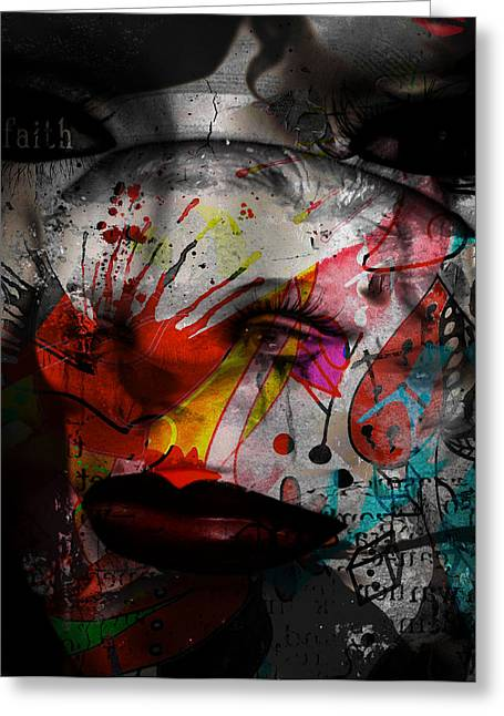 Wall Street Greeting Cards - Painted Faces Success Races  Greeting Card by Jerry Cordeiro