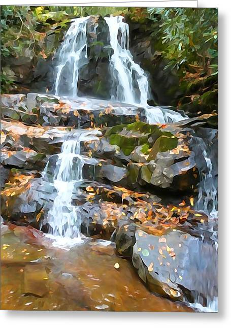 Gatlinburg Tennessee Greeting Cards - Painted Falls In The Smokies Greeting Card by Dan Sproul