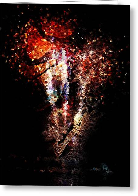 4th Joly Greeting Cards - Painted Fireworks Greeting Card by Andrea Barbieri