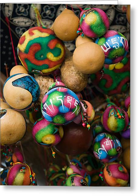 Retail Art Greeting Cards - Painted Gourds For Sale In A Street Greeting Card by Panoramic Images
