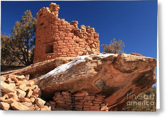 Ancient Ruins Greeting Cards - Painted Hand Pueblo Greeting Card by Adam Jewell