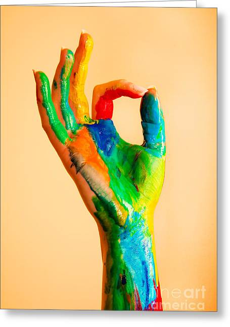 Approval Greeting Cards - Painted hand with OK sign Greeting Card by Michal Bednarek