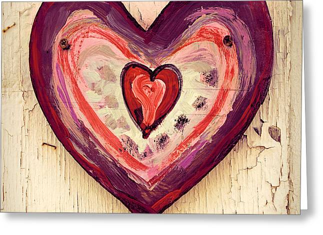 Painted Wood Photographs Greeting Cards - Painted Heart Greeting Card by Jill Battaglia