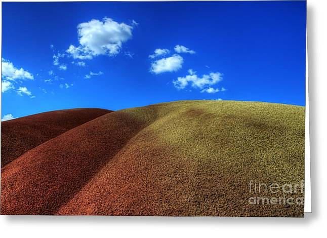 Canadian Photographer Greeting Cards - Painted Hills Blue Sky 1 Greeting Card by Bob Christopher