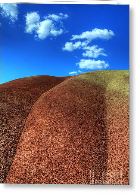 Canadian Photographer Greeting Cards - Painted Hills Blue Sky 2 Greeting Card by Bob Christopher