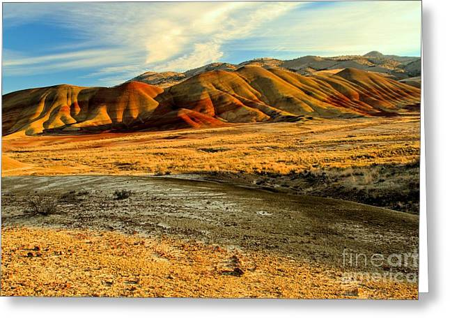 Surreal Landscape Greeting Cards - Painted Hills Sunset Greeting Card by Adam Jewell