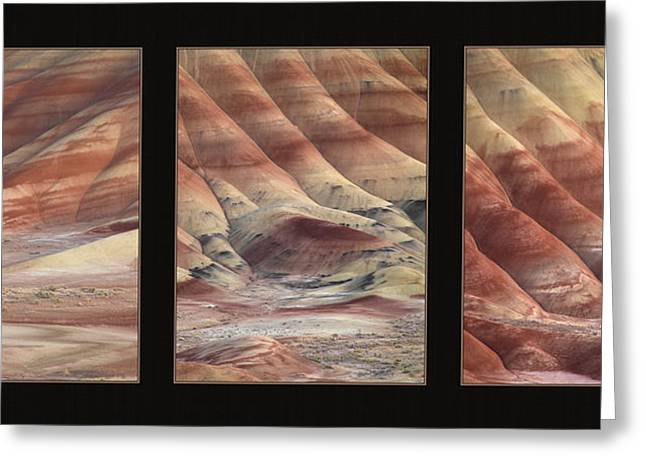 Painted Hills Triptych Greeting Card by Leland D Howard