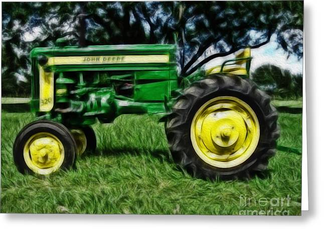Farmers Field Greeting Cards - Painted John Deere Greeting Card by Cheryl Young