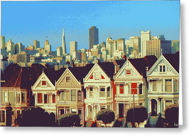 Pencil On Canvas Digital Greeting Cards - Painted Ladies 3 - San Francisco Alamo Square Greeting Card by Peter Fine Art Gallery  - Paintings Photos Digital Art