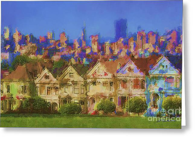 Park Scene Mixed Media Greeting Cards - Painted Ladies Greeting Card by Andrea Auletta