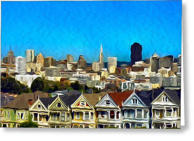 Edwardian Greeting Cards - Painted Ladies Greeting Card by Camille Lopez