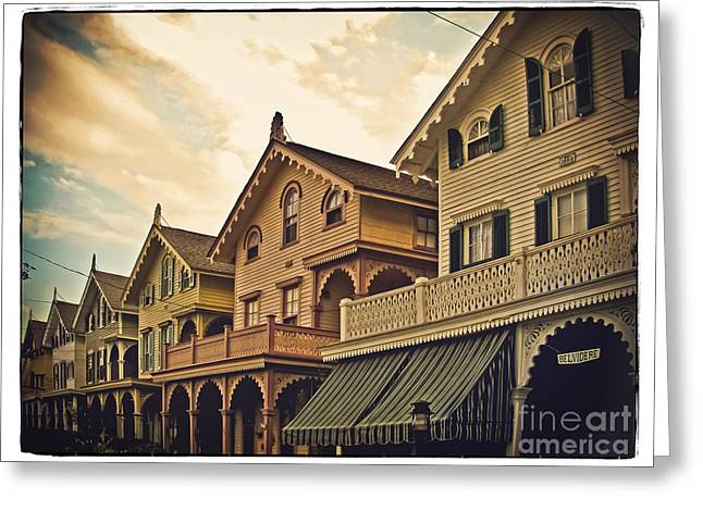 Houses Bed And Breakfast Greeting Cards - Painted Ladies in a Row Greeting Card by Colleen Kammerer