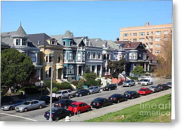 Old Tv Greeting Cards - Painted Ladies of Alamo Square San Francisco California 5D27962 Greeting Card by Wingsdomain Art and Photography