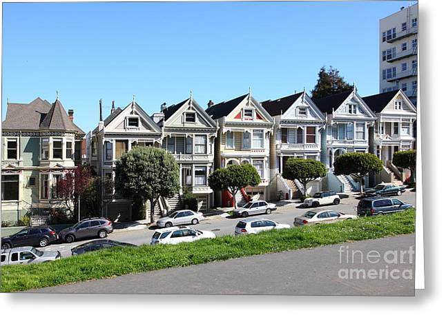 Old Tv Greeting Cards - Painted Ladies of Alamo Square San Francisco California 5D27985 Greeting Card by Wingsdomain Art and Photography