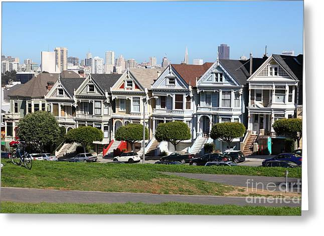 Old Tv Greeting Cards - Painted Ladies of Alamo Square San Francisco California 5D27991 Greeting Card by Wingsdomain Art and Photography