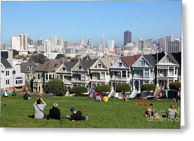 Old Tv Greeting Cards - Painted Ladies of Alamo Square San Francisco California 5D27993 Greeting Card by Wingsdomain Art and Photography