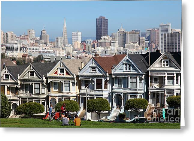 Edwardian Greeting Cards - Painted Ladies of Alamo Square San Francisco California 5D27996 Greeting Card by Wingsdomain Art and Photography