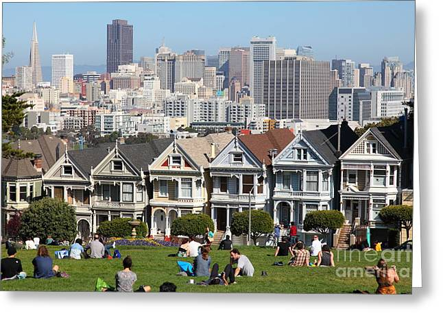 Old Tv Greeting Cards - Painted Ladies of Alamo Square San Francisco California 5D27997 Greeting Card by Wingsdomain Art and Photography