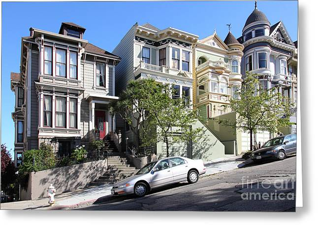 Old Tv Greeting Cards - Painted Ladies of Alamo Square San Francisco California 5D28011 Greeting Card by Wingsdomain Art and Photography