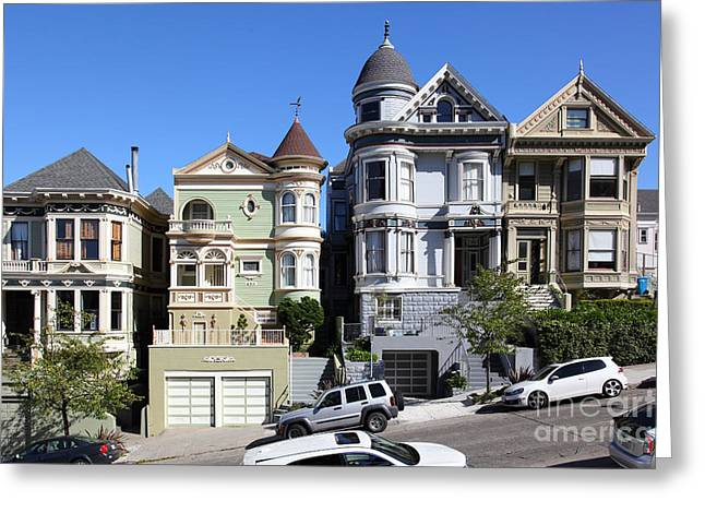 Old Tv Greeting Cards - Painted Ladies of Alamo Square San Francisco California 5D28013 Greeting Card by Wingsdomain Art and Photography