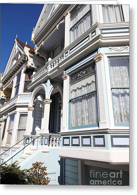 Edwardian Greeting Cards - Painted Ladies of Alamo Square San Francisco California 5D28023 Greeting Card by Wingsdomain Art and Photography