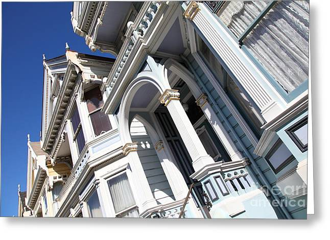 Edwardian Greeting Cards - Painted Ladies of Alamo Square San Francisco California 5D28024 Greeting Card by Wingsdomain Art and Photography