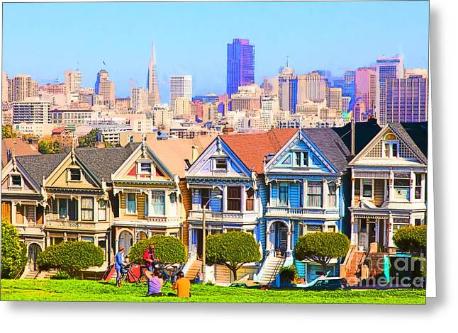 Edwardian Greeting Cards - Painted Ladies of San Francisco Alamo Square 5D27996 Greeting Card by Wingsdomain Art and Photography