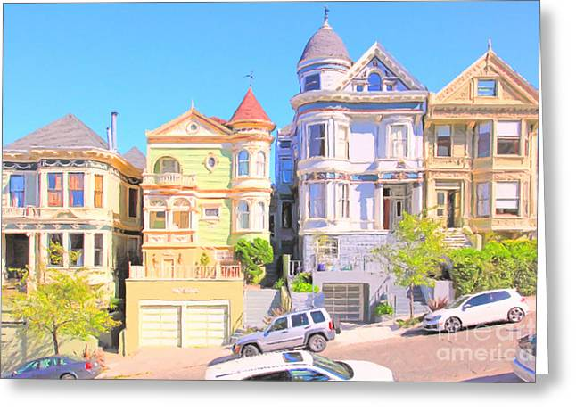 Old Tv Greeting Cards - Painted Ladies of San Francisco Alamo Square 5D28013 Greeting Card by Wingsdomain Art and Photography