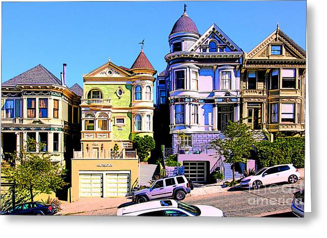 Old Tv Greeting Cards - Painted Ladies of San Francisco Alamo Square 5D28013v2 Greeting Card by Wingsdomain Art and Photography