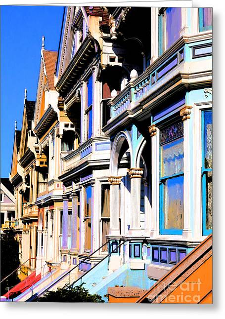 Old Tv Greeting Cards - Painted Ladies of San Francisco Alamo Square 5D28021 Greeting Card by Wingsdomain Art and Photography