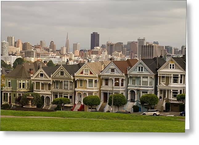 Torism Greeting Cards - Painted Ladies Row Houses and San Francisco Skyline Greeting Card by JPLDesigns