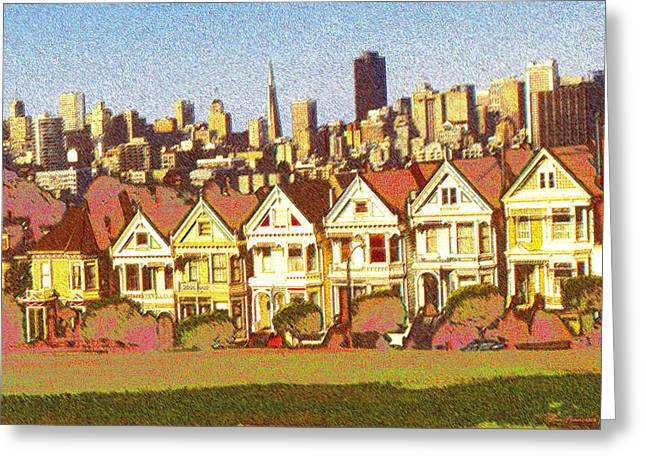 Colored Pencil On Canvas Greeting Cards - Painted Ladies - San Francisco Drawing Greeting Card by Peter Fine Art Gallery  - Paintings Photos Digital Art