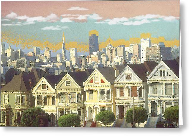 Pencil On Canvas Digital Greeting Cards - Painted Ladies - San Francisco Greeting Card by Peter Fine Art Gallery  - Paintings Photos Digital Art