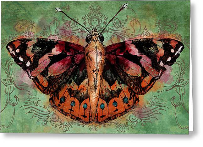 Blue Butterfly Greeting Cards - Painted Lady Greeting Card by April Moen
