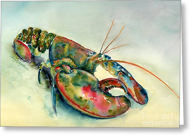 Red Claws Greeting Cards - Painted Lobster Greeting Card by Amy Kirkpatrick