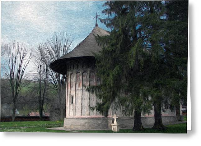 Jeff Greeting Cards - Painted Monastery Greeting Card by Jeff Kolker