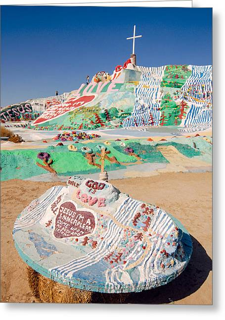 Salvation Mountain Greeting Cards - Painted mountain Greeting Card by Nastasia Cook