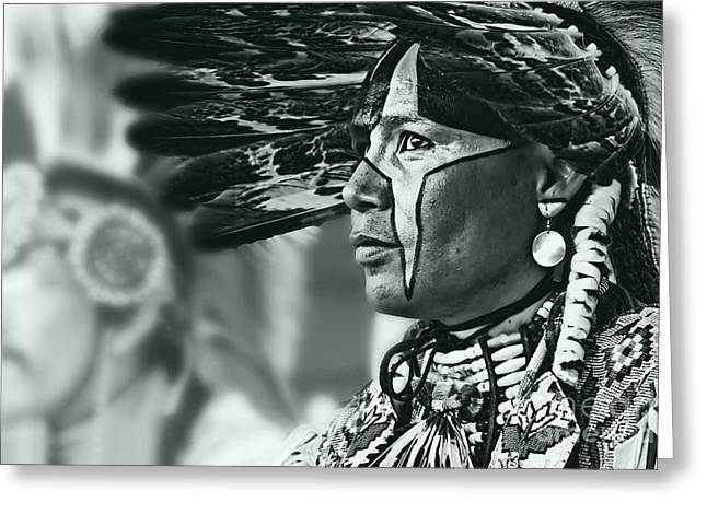 Fancy-dancer Greeting Cards - Painted Native in silver screen tone Greeting Card by Scarlett Images Photography