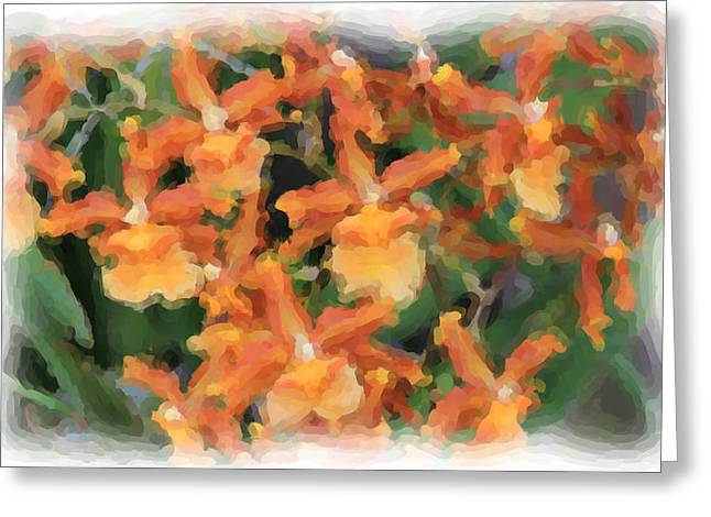Rosalie Scanlon Greeting Cards - Painted Orchids Greeting Card by Rosalie Scanlon
