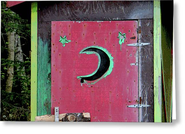 Wooden Outhouse Greeting Cards - Painted Outhouse Greeting Card by Art Block Collections