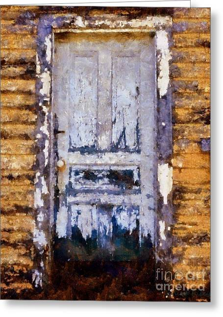 Worn In Greeting Cards - Painted past - old house door Greeting Card by Janine Riley