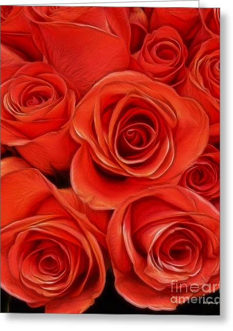 Garden Grown Photographs Greeting Cards - Painted Peach Roses Greeting Card by Cheryl Young