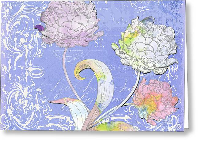 Textile Collage Greeting Cards - Painted Peonies on Lavander Scrolls Greeting Card by Anahi DeCanio