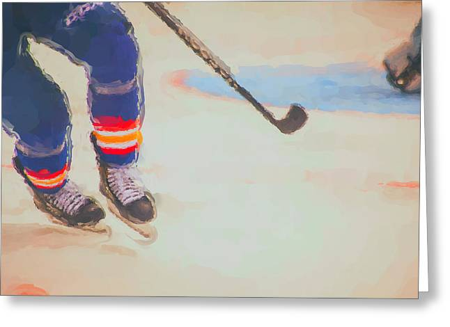 Puck Handling Greeting Cards - Painted Play Greeting Card by Karol  Livote
