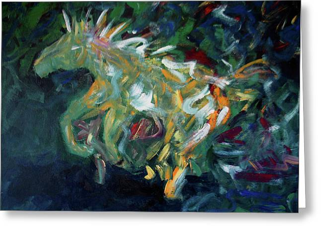Sky Lovers Art Greeting Cards - Painted Pony Close-Up Greeting Card by Lance Headlee