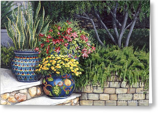 Recently Sold -  - Stepping Stones Greeting Cards - Painted Pots Greeting Card by Mary Palmer