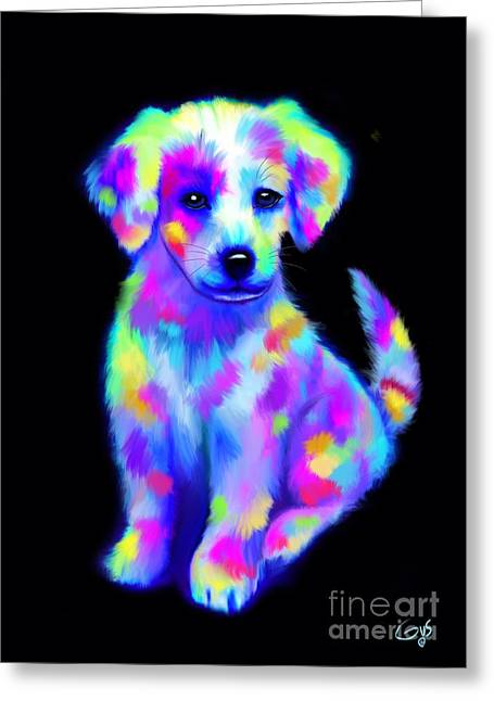 Puppies Digital Greeting Cards - Painted Pup 2 Greeting Card by Nick Gustafson