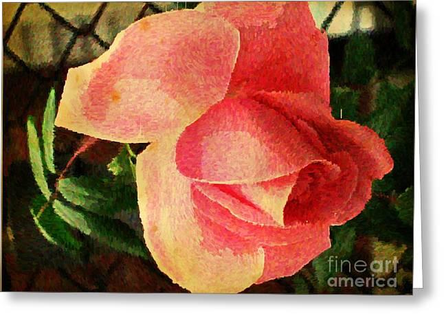 Floral Digital Art Greeting Cards - Painted Rose Greeting Card by Judy Palkimas