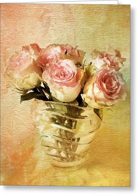 Texture Flower Greeting Cards - Painted Roses Greeting Card by Jessica Jenney
