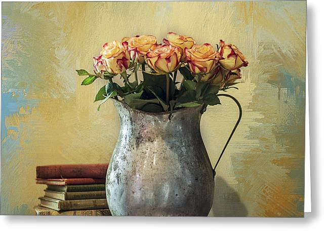 Interior Still Life Greeting Cards - Painted Roses Greeting Card by Terry Rowe